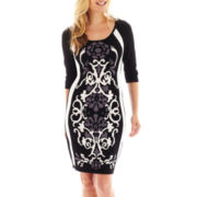 Melrose 3/4-Sleeve Print Sheath Dress - Petite