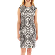 R&K Originals® Cap-Sleeve Mirror Print Sheath Dress - Petite