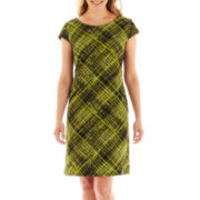 R&K Originals® Cap-Sleeve Plaid Shift Dress - Petite