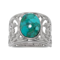 Genuine Turquoise Sterling Silver Filigree Band Ring