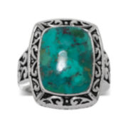 Genuine Turquoise Oxidized Sterling Silver Square Ring