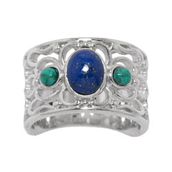 Genuine Turquoise & Dyed Lapis Sterling Silver Filigree Band Ring