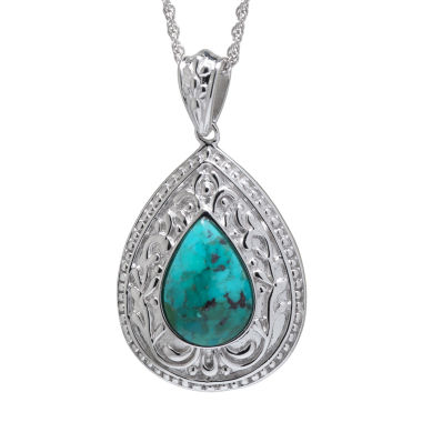 jcpenney.com | Enhanced Turquoise Filigree Sterling Silver Teardrop Pendant Necklace