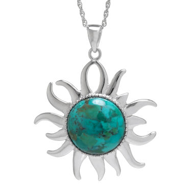 jcpenney.com | Enhanced Turquoise Filigree Sterling Silver Sun Pendant Necklace