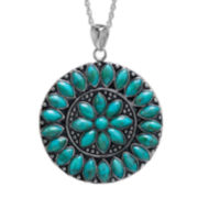 Genuine Turquoise Sterling Silver Medallion Pendant Necklace