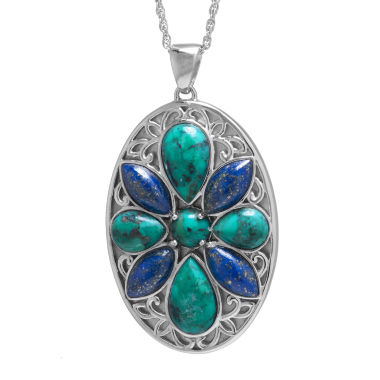 jcpenney.com | Enhanced Turquoise & Dyed Lapis Sterling Silver Medallion Pendant Necklace