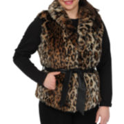 Excelled Leather Faux-Fur Belted Vest
