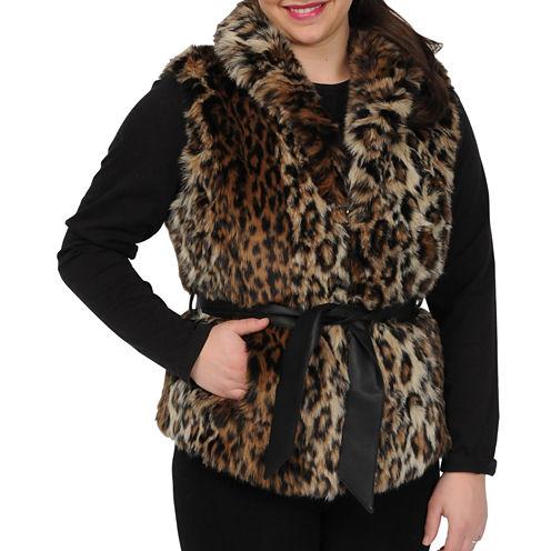 Excelled Faux-Fur Belted Vest
