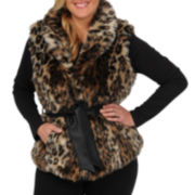 Excelled Leather Faux-Fur Vest - Plus