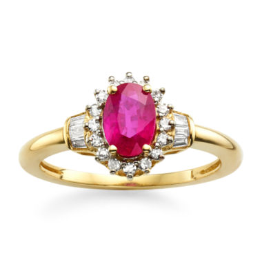 jcpenney.com | Lead Glass-Filled Ruby & 1/4 CT. T.W. Diamond 10K Gold Ring