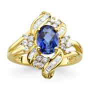 Lab-Created Blue & White Sapphire Cluster Ring