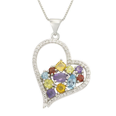 jcpenney.com | Multicolor Gemstone Sterling Silver Heart Pendant Necklace