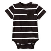 Okie Dokie® Short-Sleeve Striped Bodysuit – Boys newborn-24m