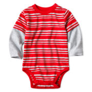 Okie Dokie® Long-Sleeve Striped Knit Bodysuit – Boys newborn-9m