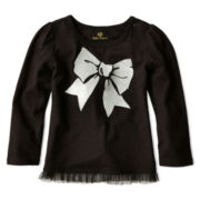 Okie Dokie® Girl Long Sleeve Tulle Tee - Girls newborn-24m