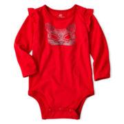 Okie Dokie® Long-Sleeve Knit Ruffle Bodysuit – Girls newborn-24m