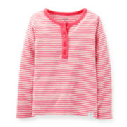 Carter's® Long-Sleeve Striped Henley – Girls 5-6x