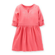Carter's® 3/4-Sleeve Embroidered Keyhole Dress - Girls 5-6x