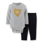 Carter's® 2-pc. Long-Sleeve Bodysuit and Pants Set – Girls newborn-24m