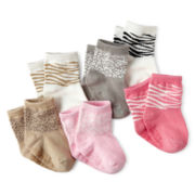 Carter's® 6-pk. Animal-Print Socks – Girls newborn-24m