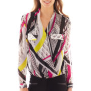 Bisou Bisou® Long-Sleeve Striped High-Low Crossover Blouse