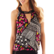 Bisou Bisou® Sleeveless Keyhole Colorblock Top