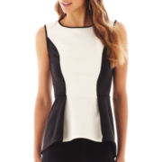 Bisou Bisou® Sleeveless Colorblock Peplum Top