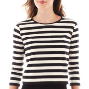 MNG by Mango® Elbow-Sleeve Striped Crop Top