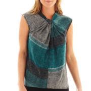 Worthington® Short-Sleeve Zipper-Trim Blouse
