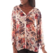 i jeans by Buffalo 3/4-Sleeve Crochet-Back Floral Blouse