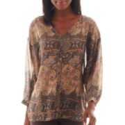 i jeans by Buffalo 3/4-Sleeve Crochet-Back Paisley Print Blouse