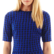 I 'Heart' Ronson® Elbow-Sleeve Houndstooth Print Crop Top