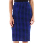 I 'Heart' Ronson® Houndstooth Print Midi Pencil Skirt