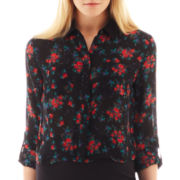 I 'Heart' Ronson® Long-Sleeve Floral Print Cropped Blouse