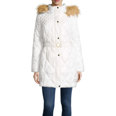 jcpenney.com | Sienna Studio Belted Puffer Jacket with Faux Fur Hood