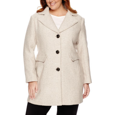 jcpenney.com | Miss Gallery® Wool-Blend Walker Coat - Plus