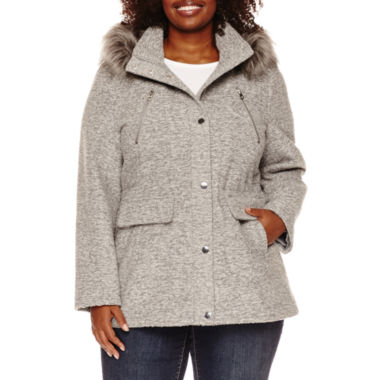 jcpenney.com | a.n.a® Faux-Fur Trim Anorak Wool-Blend Coat - Plus