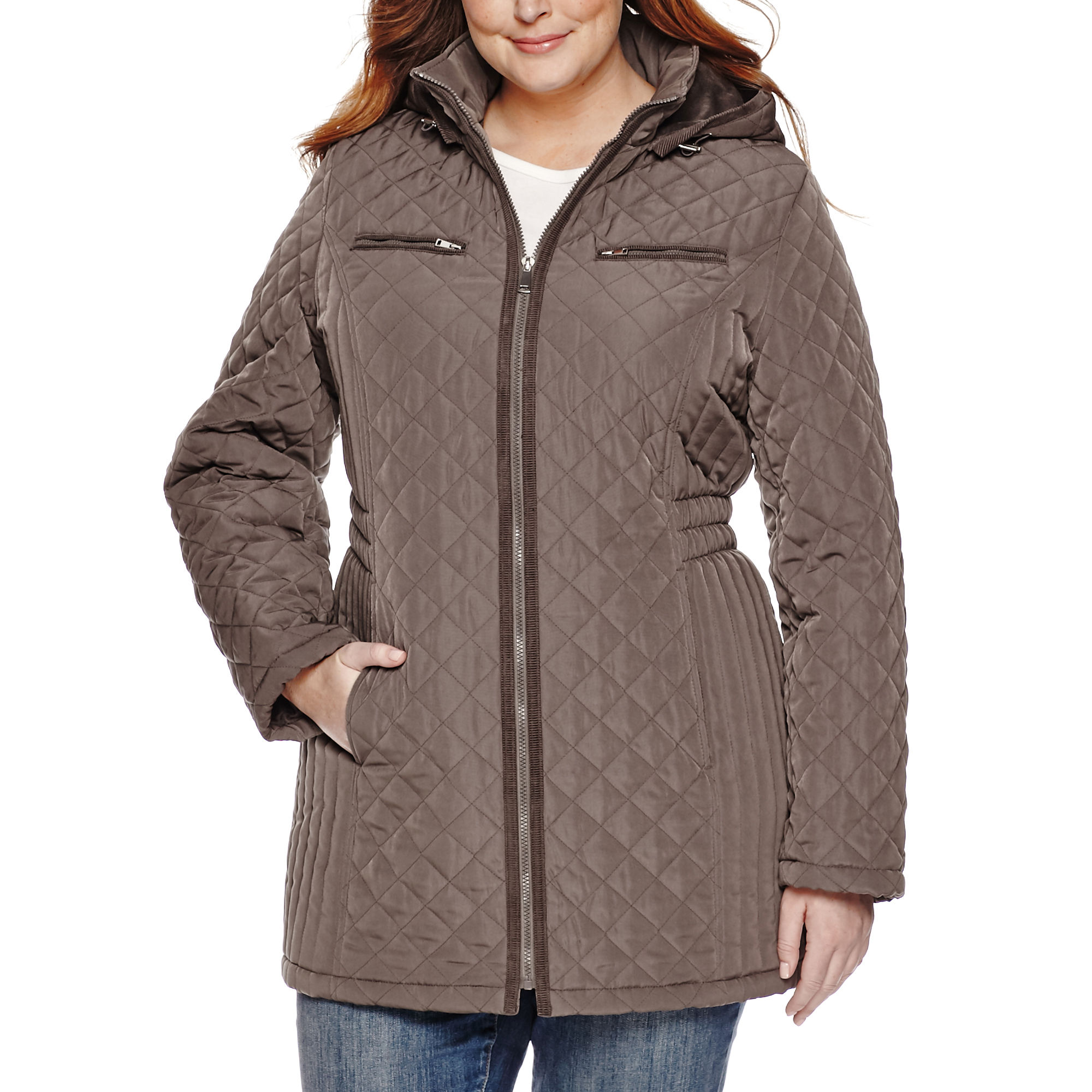 St. John's Bay Quilted Zip-Front Long Puffer Coat - Plus