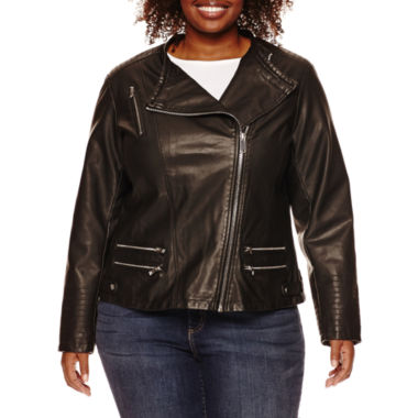 jcpenney.com | a.n.a® Faux-Leather Zip-Up Moto Jacket - Plus