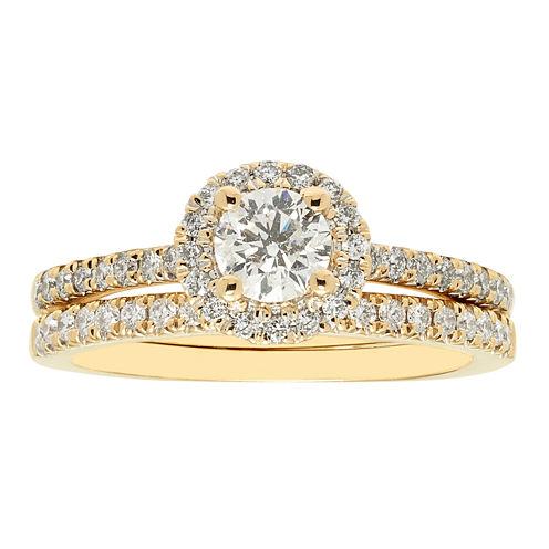 Womens 1 CT. T.W. White Diamond 14K Gold Bridal Set