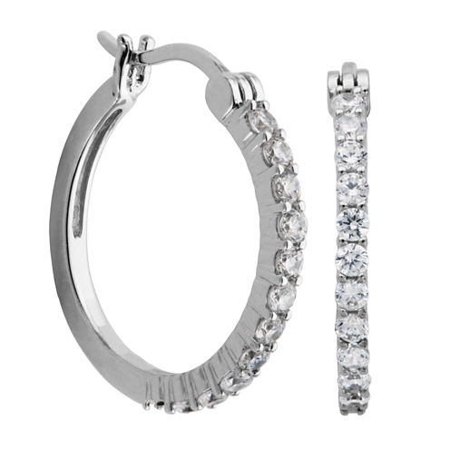 DiamonArt® Sterling Silver CZ Hoop Earrings