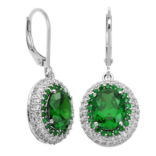 DiamonArt® Sterling Silver Green Oval Cubic Zirconia Halo Earrings