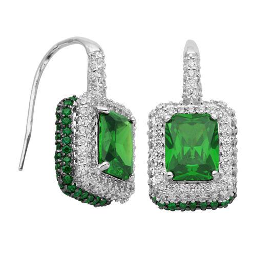 DiamonArt® Sterling Silver Green Radiant Cubic Zirconia Halo Earrings