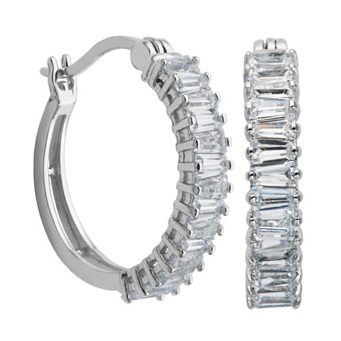 DiamonArt® Sterling Silver Baguette Cubic Zirconia Hoop Earrings