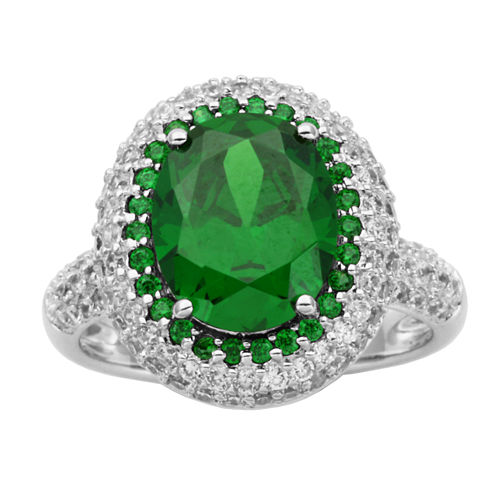 DiamonArt® Sterling Silver Green Oval Cubic Zirconia Halo Ring