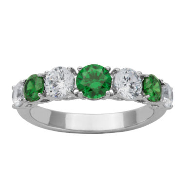 jcpenney.com | DiamonArt® Sterling Silver Green & White Cubic Zirconia Band Ring