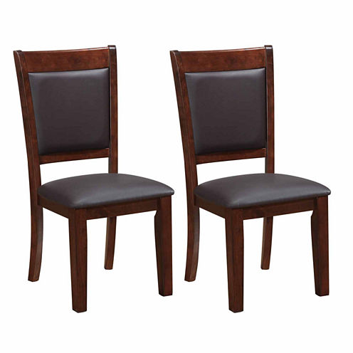 Chocolate Brown Bonded Leather Dining Chairs Set Of 2