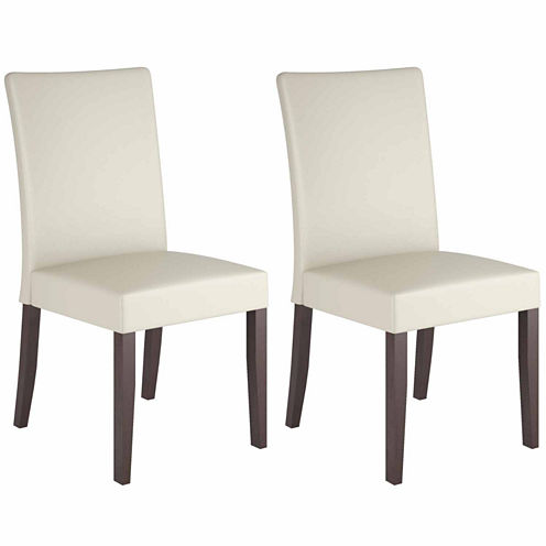Atwood Cream Leather Side Chairs, Set of 2
