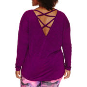 Xersion™ Studio Long-Sleeve Criss Cross Back Tee - Plus