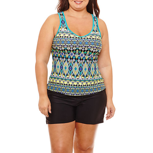 Zeroxposur Geo Linear Tankini Swimsuit Top or Action Short-Plus